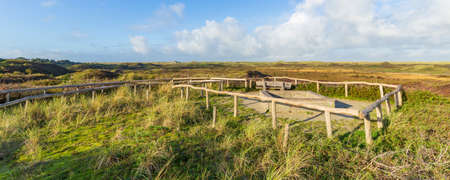 Viewpoint Turfveld with scenic view of National Park Dunes Texel, North Holland, Netherlands Archivio Fotografico