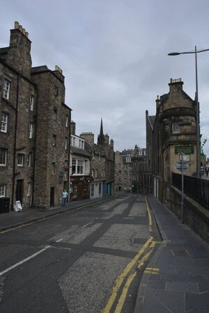 Ancient street with building, Edinburgh Scotland