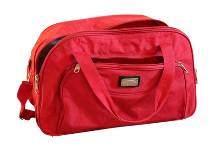 holdall: Traveling red bag on a white background