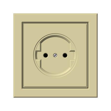 alternating current: Beige socket on a white background. Illustrations Stock Photo