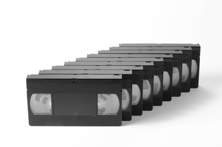Old, obsolete video cassette vhs on a white background. photo