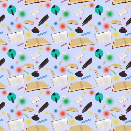 The seamless pattern from books and inkwells with feathers. photo