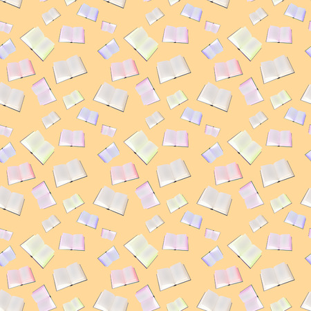 The seamless pattern from books on a yellow background. photo