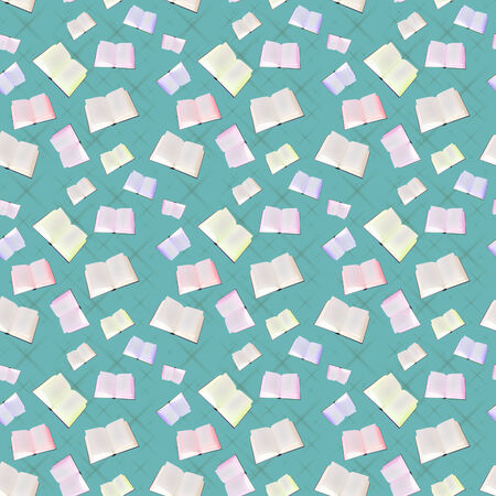 The seamless pattern from books on a blue background. photo
