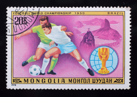 Mongolia - circa 1978: A post stamp printed in the Mongolian shows image of Football World Championship 1950 Brazil, series Football, circa 1978.