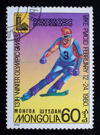 placid: Mongolia - circa 1980: A post stamp printed in the Mongolian shows image of 13th Winter Olympic Games, series Lake Placid 1980, circa 1980.