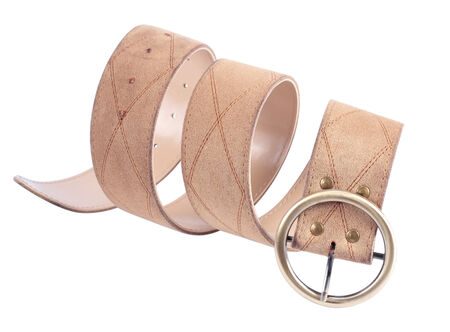 leatherette: Beige leatherette belt with a buckle on a white background.
