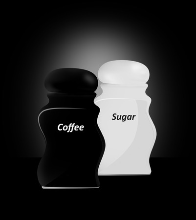 Kitchen Capacities for sugar and coffee a black background.