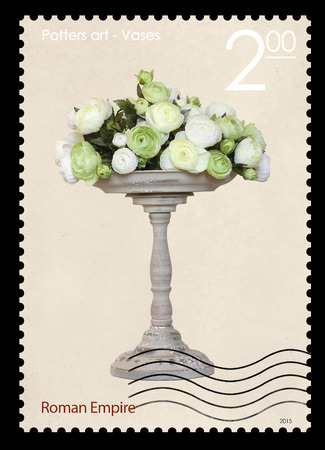 roman empire: A fake post stamp shows image of Roman Empire vases, Fake series Potters art - Vases.