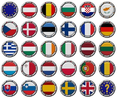 Euro set: Volume 3d Flags of the European Union countries.