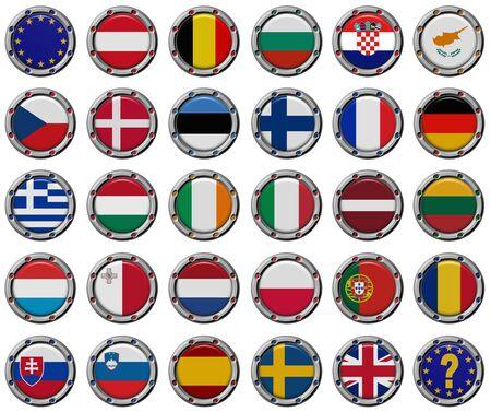 all european flags: Euro set: Volume 3d Flags of the European Union countries.