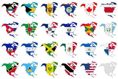 bandera panama: Conjunto americano: Volumen Banderas 3D de los pa�ses Am�rica del Norte en continente contornos de fondo. Foto de archivo