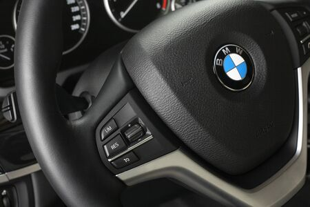 illustrative editorial: Illustrative editorial. BMW X5. Interior of leather passenger compartment of the car in light-dark tones. Moscow. Russia. 04.10.2015. Moscow.