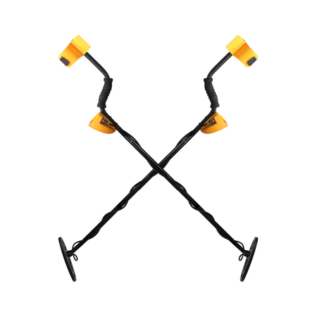 metal detector: Two Metal detector crossed closeup on a white background. Stock Photo