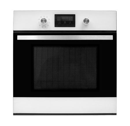 microwave oven: The electric oven on a white background. It is isolated, the worker of paths is present.