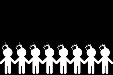 awaken: TV - Zombiing of people. Influence of promotion of mass media on the identity of the person. Stock Photo
