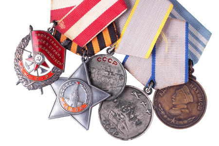 nonexistent: Nonexistent awards of the nonexistent country. Composition from the Soviet military awards of times of World War II - Order of the Red Banner, Glory, Medal for Courage, Medal for Battle Merit, Nakhimov Medal. It is isolated, the worker of paths is present