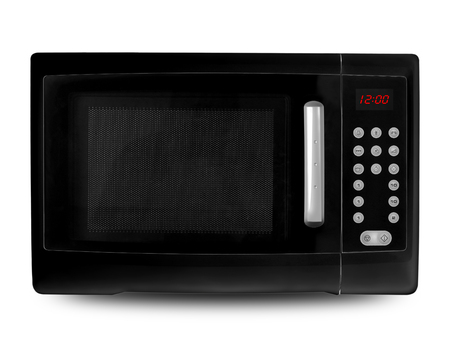 defrost: Black digital microwave on an white background.