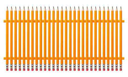 Stationery - Fence from graphite pencils on a white background. Stock Photo