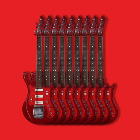 caoba: Instrumento musical - Nueve cosecha guitarra eléctrica de color rojo sobre un fondo rojo