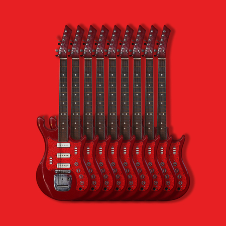 Musical instrument - Nine red vintage electric guitar on a red background