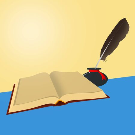 classics: Book - The old open book with empty sheets and inkwells with a feather on a blue and yellow background. Stock Photo