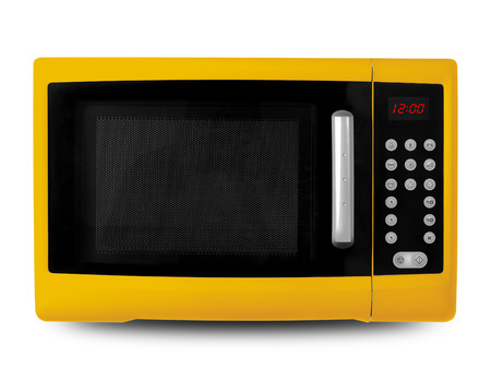 defrost: Household appliances - Yellow digital Microwave on an white background.