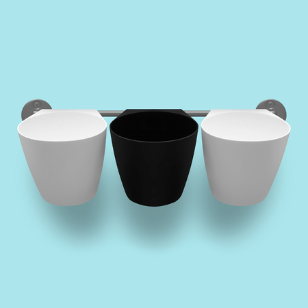 capacities: Capacities - Three empty white and black plastic cups on a light blue background.