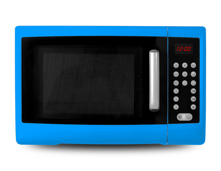 defrost: Household appliances - Blue digital Microwave on an white background. Stock Photo