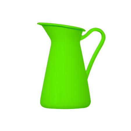 ewer: Storage for liquids - Green jug ewer on a white background.
