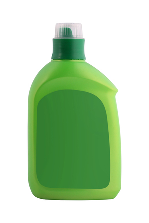 Empty bottle procurement for detergent or shampoo with an green cover and a label isolated on a white background