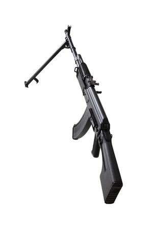 Weapon - A close up black Assault rifle on a bipod on a white background. It is isolated, the worker of paths is present. Stock Photo