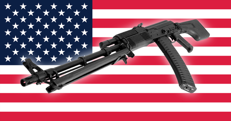 soviet flag: Weapon - A close up black Assault rifle to the USA of a flag background.