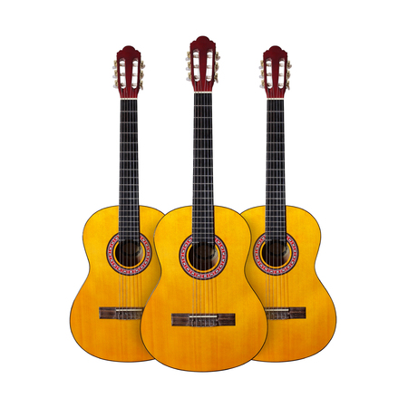 octave: Musical instrument - Three Classic guitar on a white background. Isolated