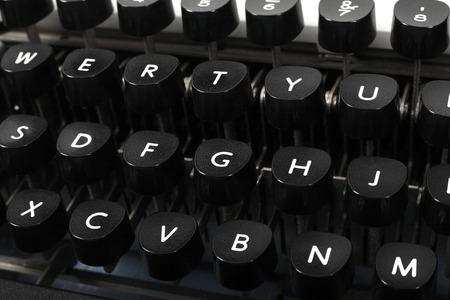 Typewriter old retro QWERTY keyboard fragment