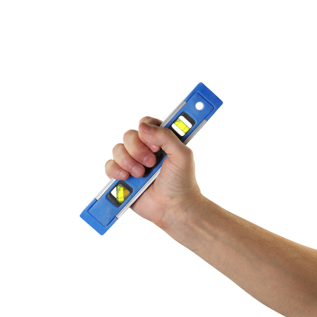 Objects tool hands action - Hand Spirit level worker hand isolated white background. Standard-Bild