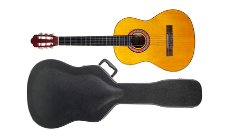 Musical instrument - Acoustic classic guitar hard case isolated on a white background. Stock Photo