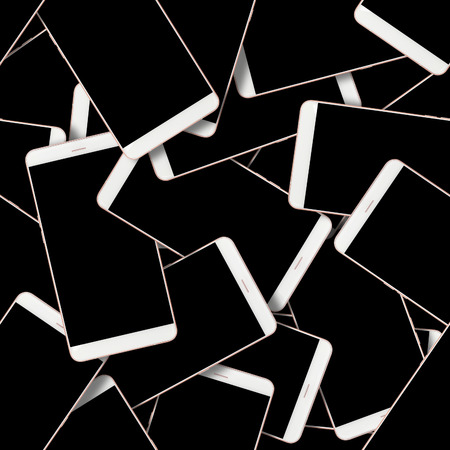Modern Smartphone set abstract seamless geometrical patterns on a black background. 版權商用圖片