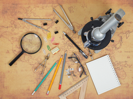 Science and education - Desktop of the scientist map background Stock Photo - 93336446