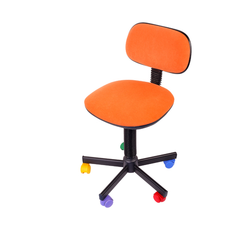 Office furniture - Orange Child office computer chair isolated on a white background. Stock Photo
