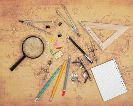 Science and education - Desktop of the scientist objects map background Stock Photo - 93886741