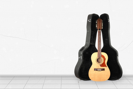 Home interior -  Front view twelve-string acoustic guitar hard case of white wall.