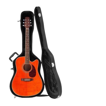 Musical instrument - Tiger flame  maple acoustic guitar hard case isolated on a white background.