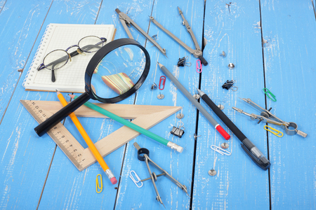 Science and education - Desktop of the scientist objects wood background Stock Photo - 100580666
