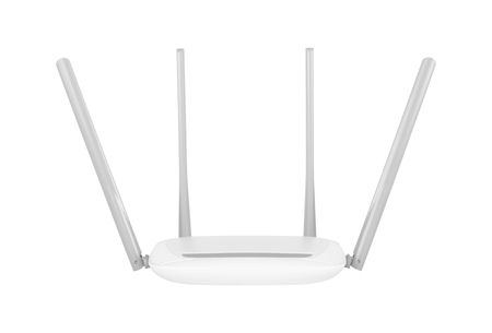 Networking hardware - Wi-Fi router on a white background. It is isolated, the worker of paths is present. Zdjęcie Seryjne