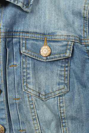 Clothes, shoes and accessories - top view fragment blue jeans woomen 免版税图像