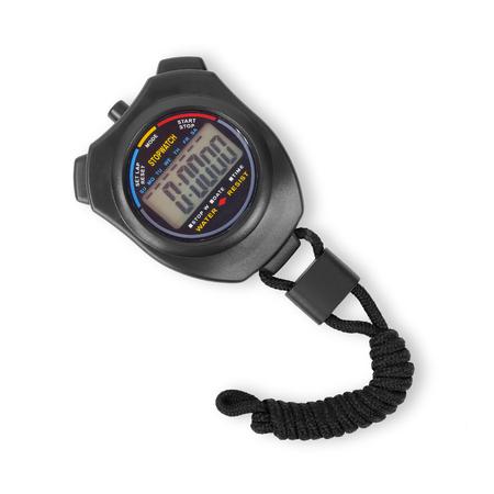 Sportgeräte - Schwarze digitale elektronische Stoppuhr auf weißem Hintergrund. Isoliert