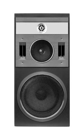 Music and sound - Front view one three way line array loudspeaker enclosure cabinet isolated on a white background.