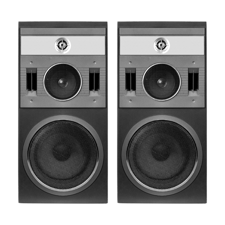 Music and sound - Two front view one three way line array loudspeaker enclosure cabinet isolated on a white background. Imagens