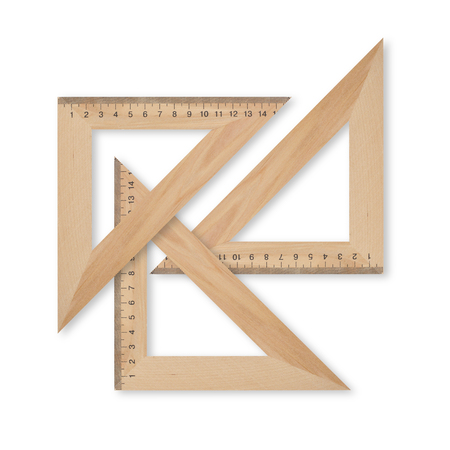 Science and education - Three wood set square triangle on a white background.